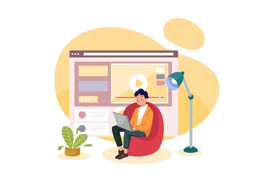 Online-Kurs mit einem Jungen, der auf einem Stuhl sitzt