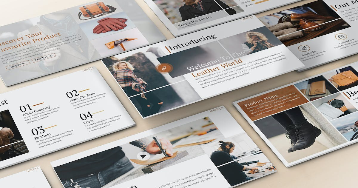 Download Leder - Fashion Powerpoint Template by SlideFactory
