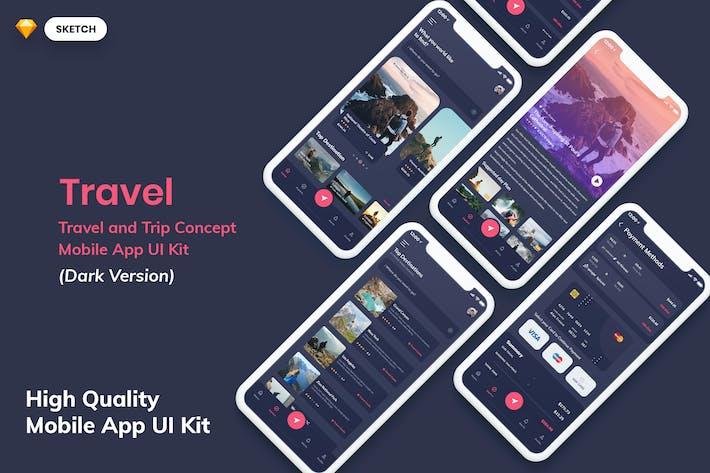 Thumbnail for Travel MobileApp UI Kit Dark Version (SKETCH)