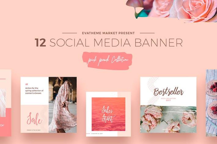 Thumbnail for Pink Peach Social Media Designs