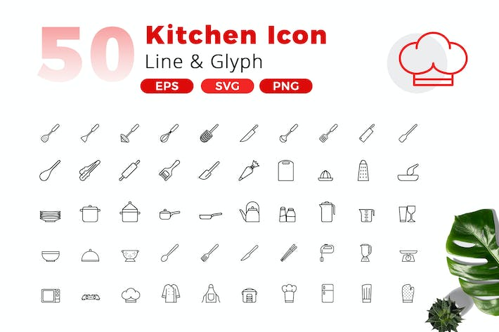 Thumbnail for 50 Kitchen Icon Pack