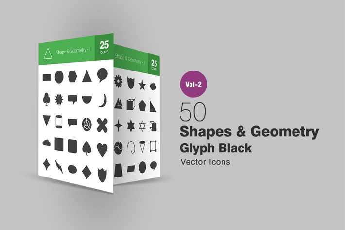 Thumbnail for 50 Shapes & Geometry Glyph Icons