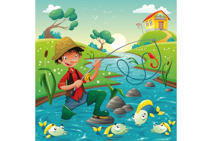 Thumbnail for Cartoon scene with fisherman and fish