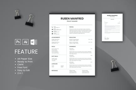 Professional CV And Resume Template Manfred