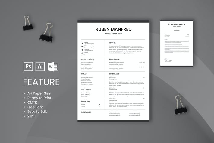 Thumbnail for Professional CV And Resume Template Manfred