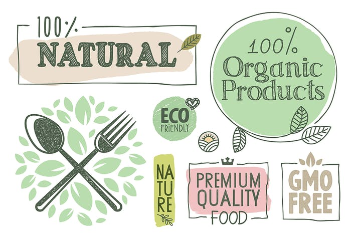 Thumbnail for Organic Food Labels and Badges Collection