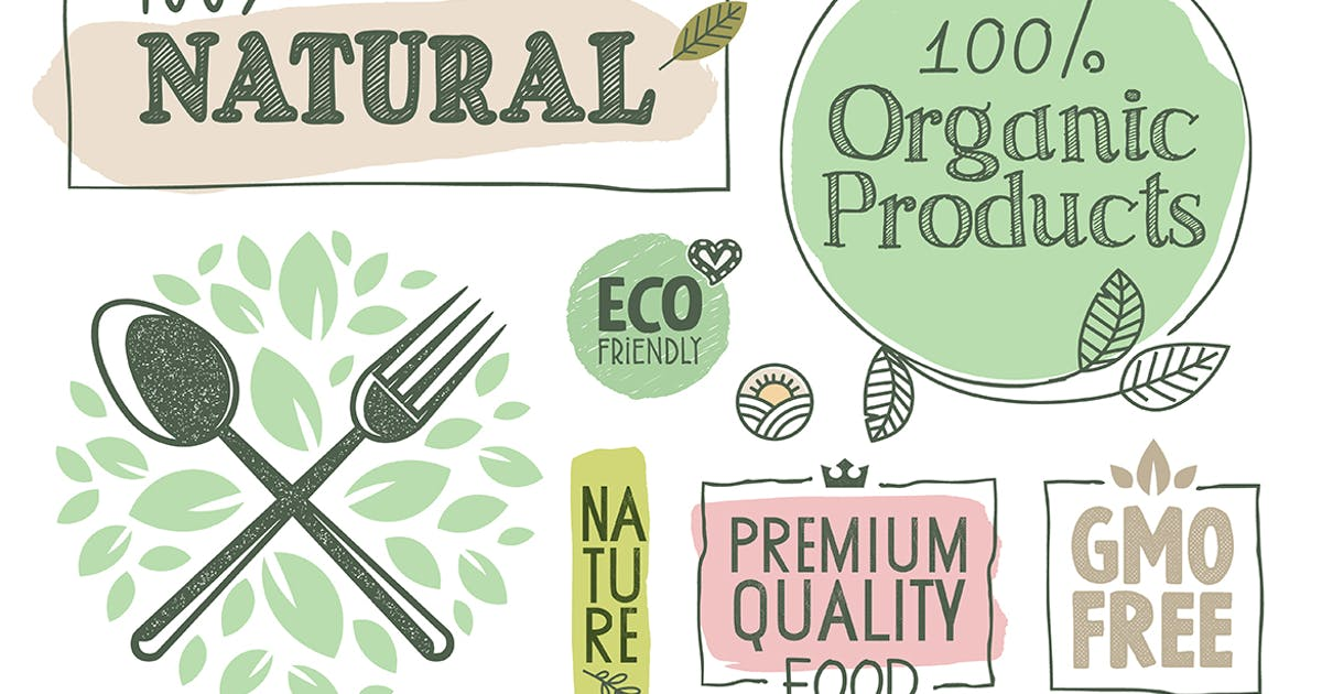 Download Organic Food Labels and Badges Collection by PureSolution