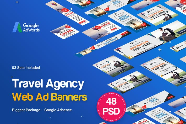Travel Agency Banner Ads - 48 PSD [03 Sets] by iDoodle on