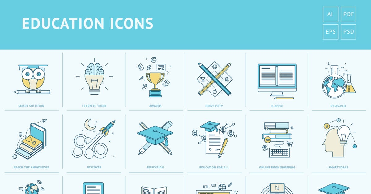 Download Flat Line Icons for Education by PureSolution
