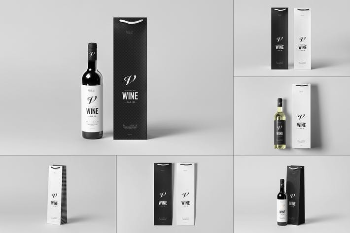 Cover Image For Wine Bag & Bottle Mock-up