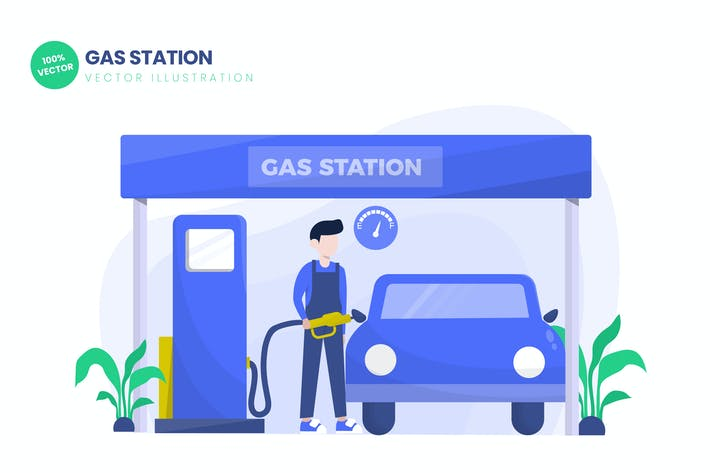 Thumbnail for Gas Station Flat Vector Illustration