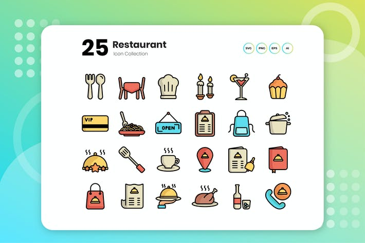 Thumbnail for 25 Restaurant Flat Icon Set