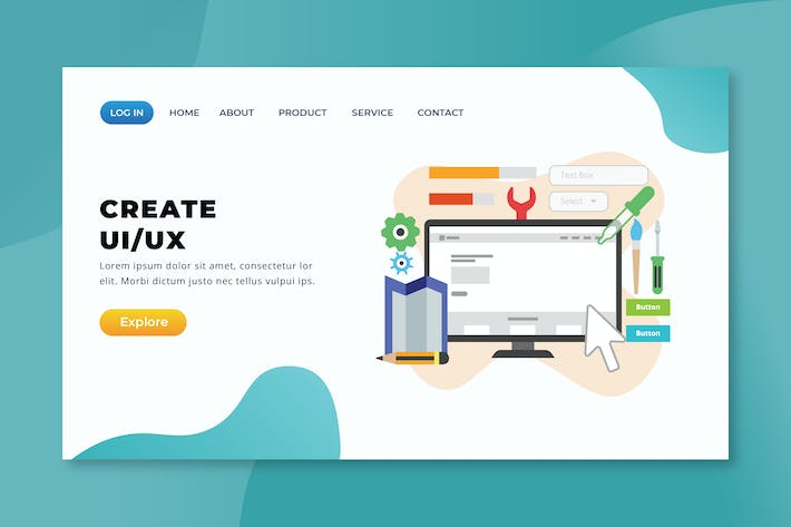Thumbnail for Create UI and UX - XD PSD AI Vector Landing Page
