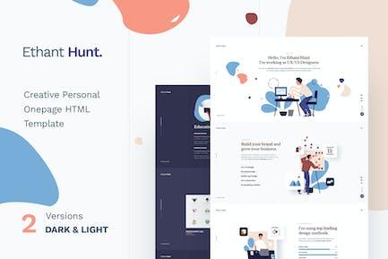 Ethant Hunt - Persönliche HTML Onepage Vorlage