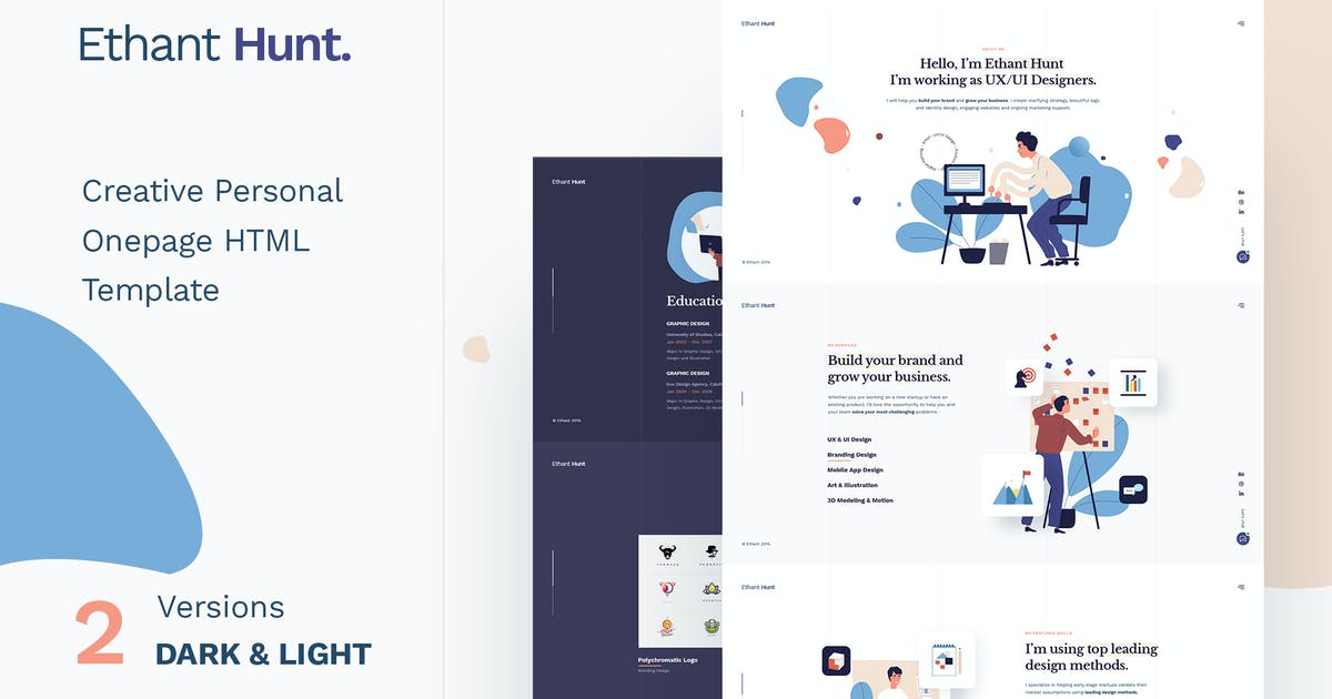 Download Ethant Hunt - Personal HTML Onepage Template by paul_tf
