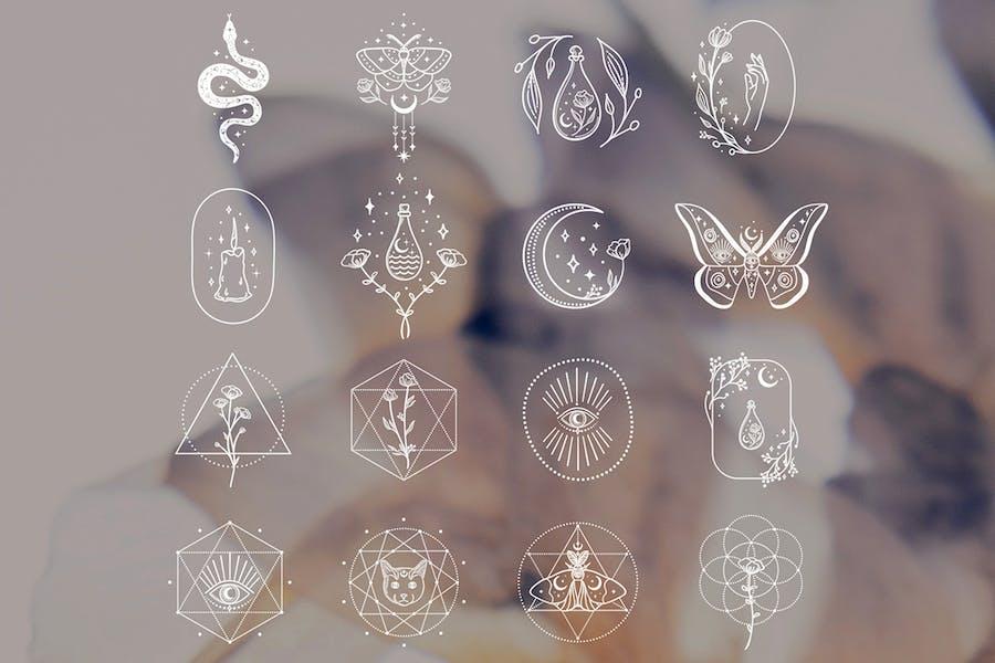 White Design Elements Illustrations. Tattoo. Magic