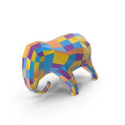 Escultura de elefante multicolor