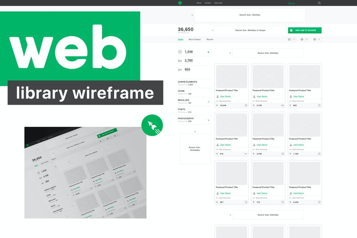 Thumbnail for Web Library Wireframe