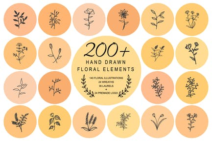 200 Hand Drawn Floral Wreaths Laurels
