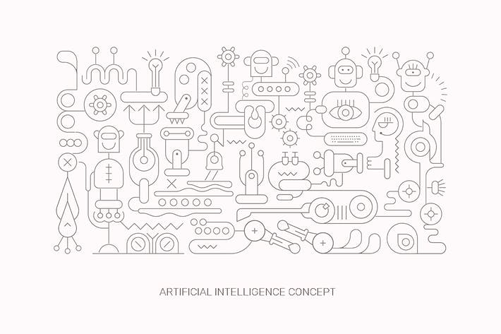 Thumbnail for Artificial Intelligence Concept line art design