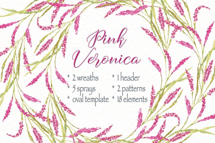 Thumbnail for Pink Veronica Watercolor Clip Art Bundle