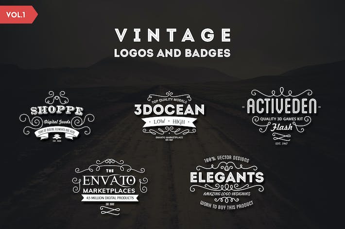 Thumbnail for Vintage Logos and Badges Template - Vol.1