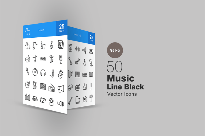 Thumbnail for 50 Music Line Icons