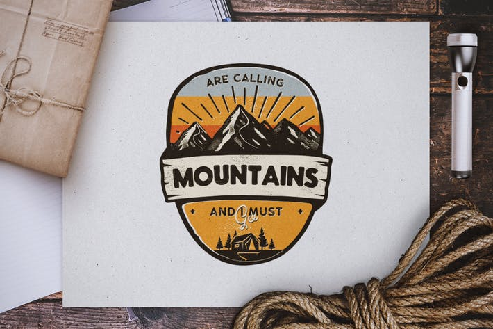 Thumbnail for Mountains Calling Badge, Vintage-Reise-Logo
