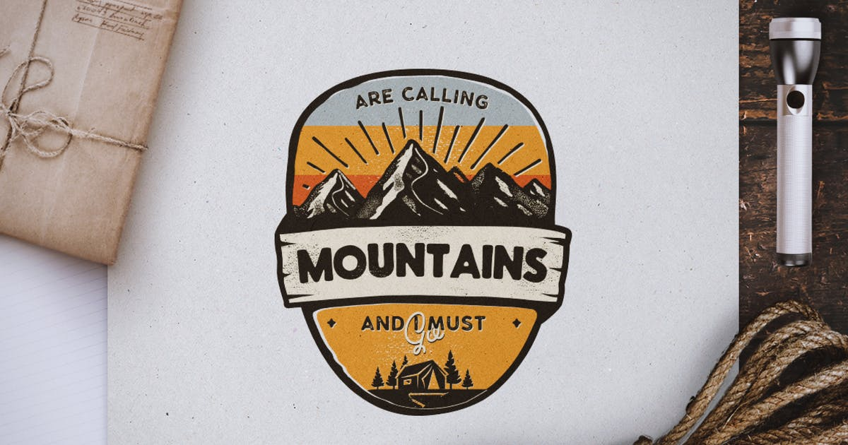 Mountains Calling Badge / Vintage Travel Logo by JeksonJS