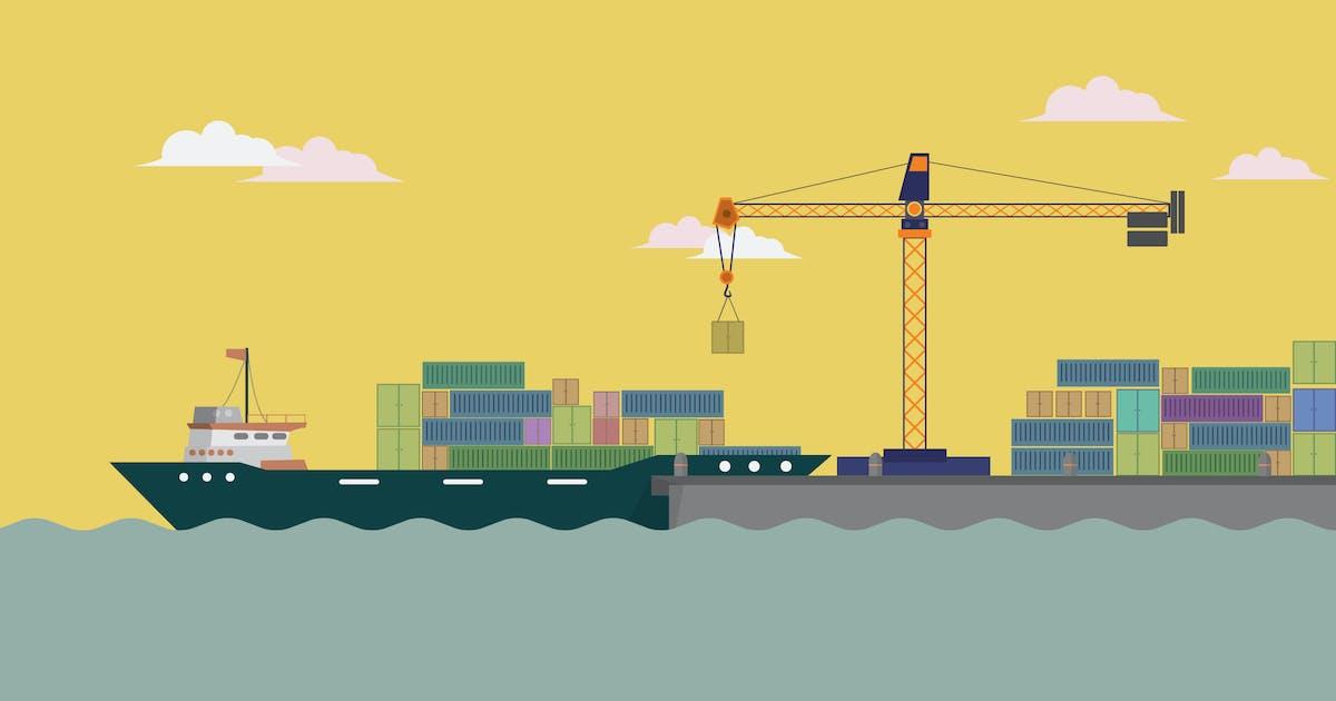 Download Harbour Ship - Illustration Background by Graphiqa