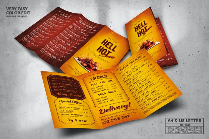 Cover Image For Hell Hot Trifold Food Menu Design A4 & US Letter
