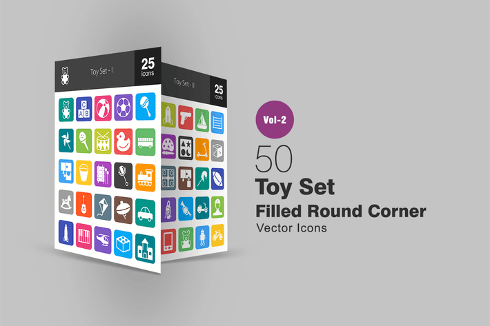 Thumbnail for 50 Toy Set Filled Round Corner Icons