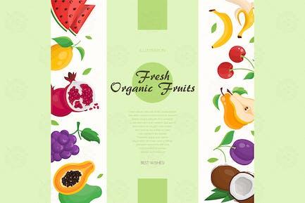Fresh organic fruit - vector illustration