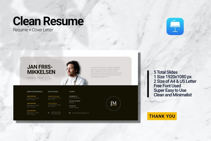 Thumbnail for Clean Chef Resume_Keynote