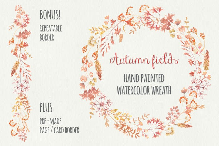 "Thumbnail for ""Autumn Fields"" Watercolor Wreath and Border"