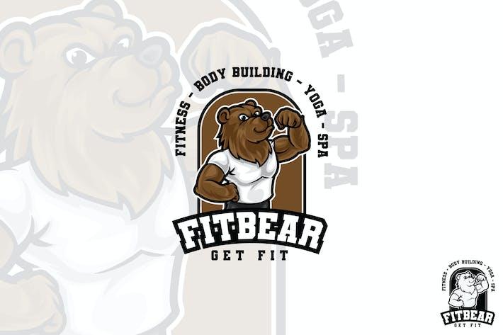 Fit Bear Vector Logo Mascot