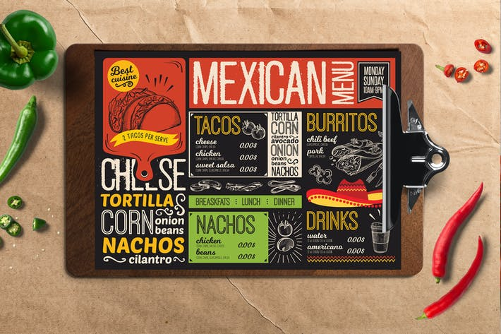 Thumbnail for Mexican Food Menu Template