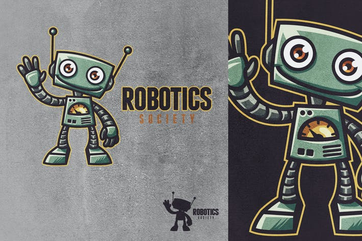 Thumbnail for Retro Vintage Cartoon Toy Robot Mascot Logo 2.0