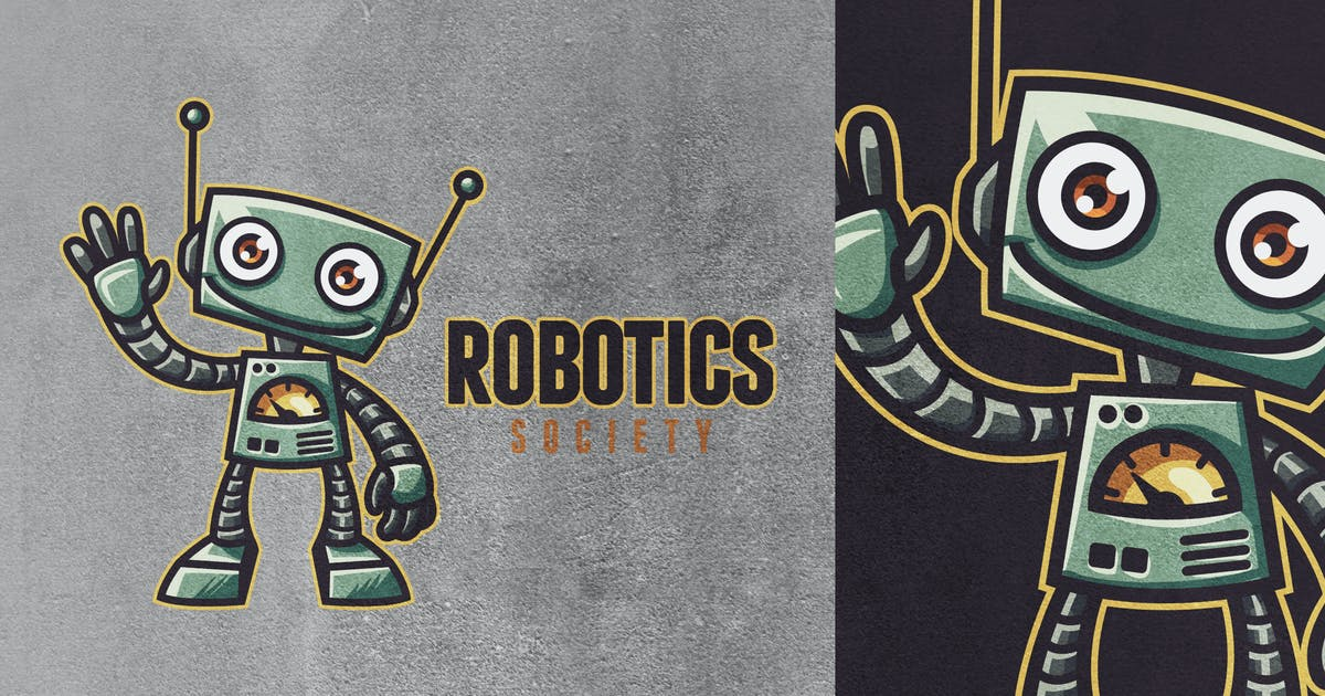 Retro Vintage Cartoon Toy Robot Mascot Logo 2.0 by Suhandi