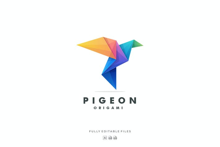 Thumbnail for Pigeon Origami Color Gradient Logo