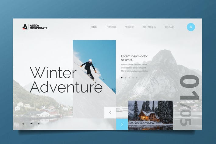 Thumbnail for Winter Adventure Web Header PSD and AI Template