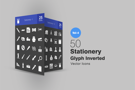 50 Stationery Glyph Inverted Icons