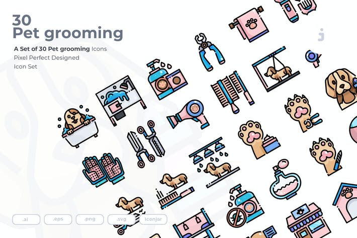 Thumbnail for 30 Pet grooming Icons