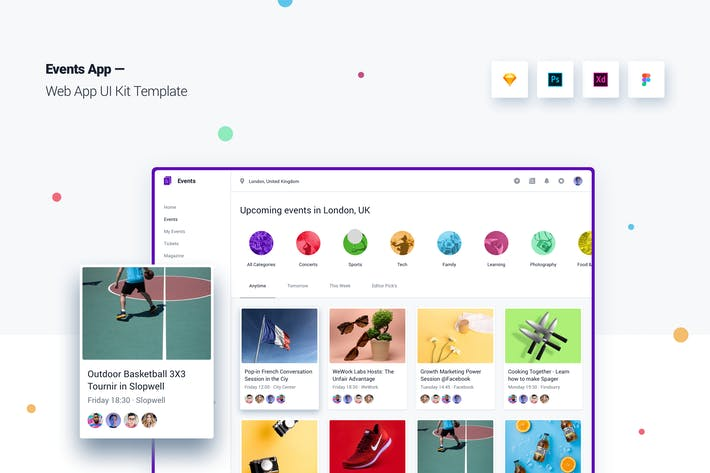 Thumbnail for Event App Web App UI Kit-Vorlage