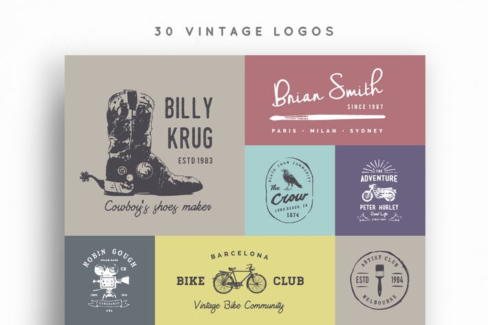 Cover Image For 30 Vintage Logos