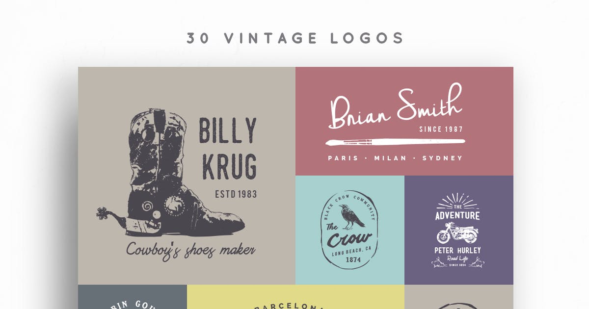 Download 30 Vintage Logos by vuuuds