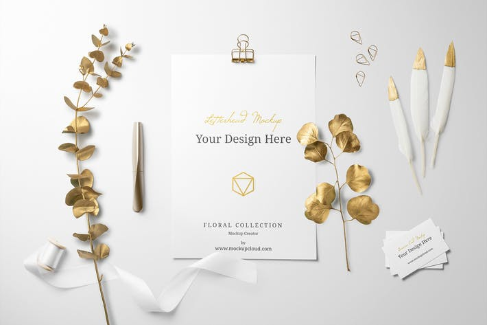 Thumbnail for Golden Floral Branding Mockup