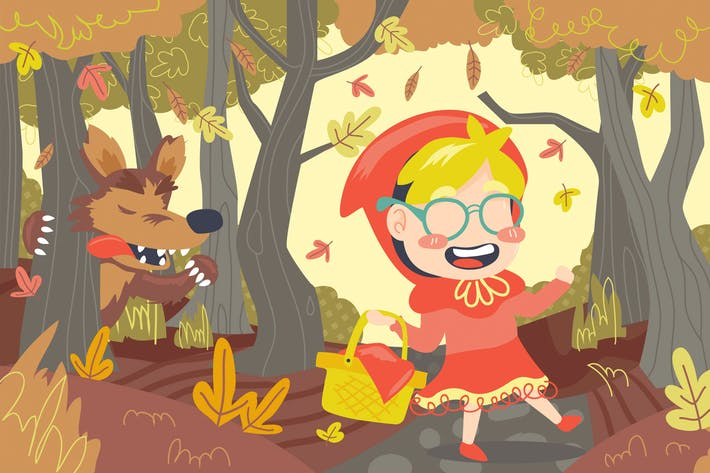 Thumbnail for Little Red Riding Hood Illustration