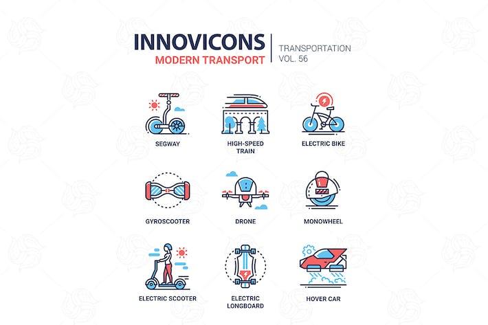 Cover Image For Modern transport - line design icons set