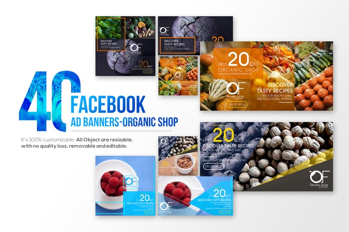 Thumbnail for 40 Facebook Ad Banners-Organic Shop